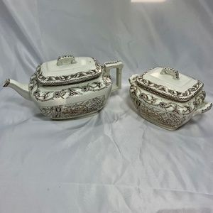 Antique 1883 T&R Boote Yosemite teapot sugar bowl